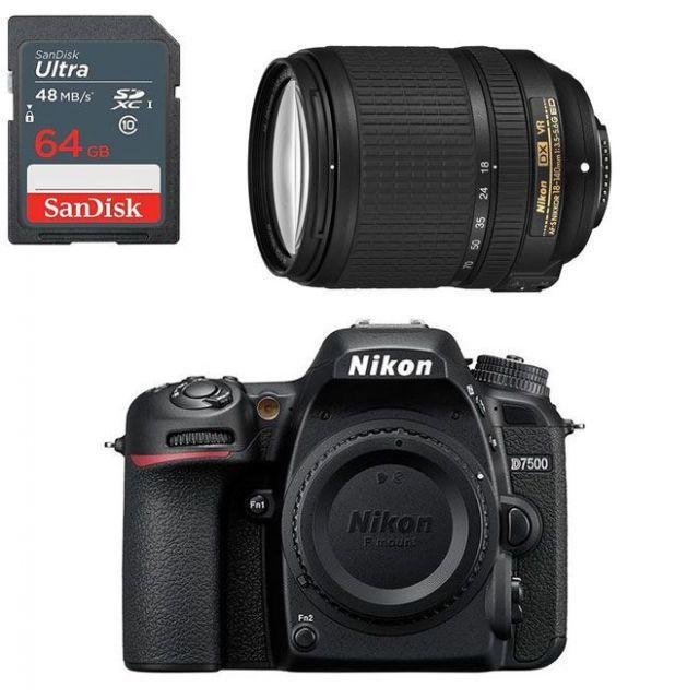 Nikon D7500 +18-140mm Lens f/3.5-5.6G ED VR DSLR Kit +64GB