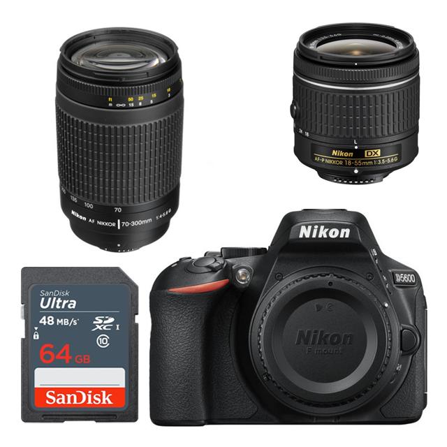 Nikon D5600 18-55 +70-300mm +64GB Kit DSLR Camera - Express Delivery