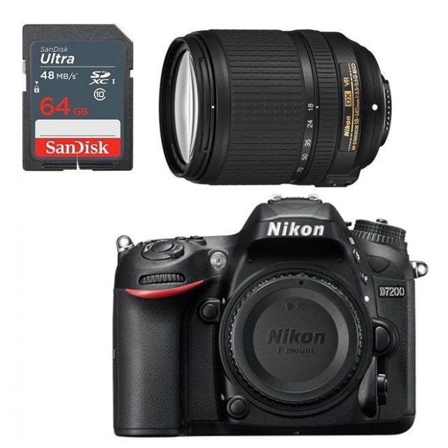 Nikon D7200 +18-140mm Lens f/3.5-5.6G ED VR DSLR Kit +64GB
