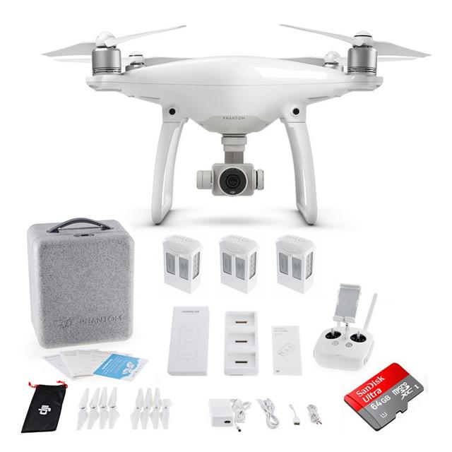 DJI Phantom 4 with 3 Batteries + Charging Hub + 64GB Drone Quadcopter