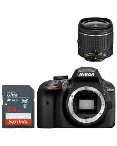 Nikon D3400 + 18-55 & 64GB Sandisk - Express Delivery