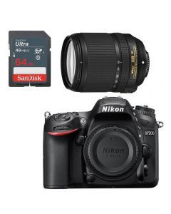 Nikon D7200 +18-140mm Lens f/3.5-5.6G ED VR DSLR Kit +64GB